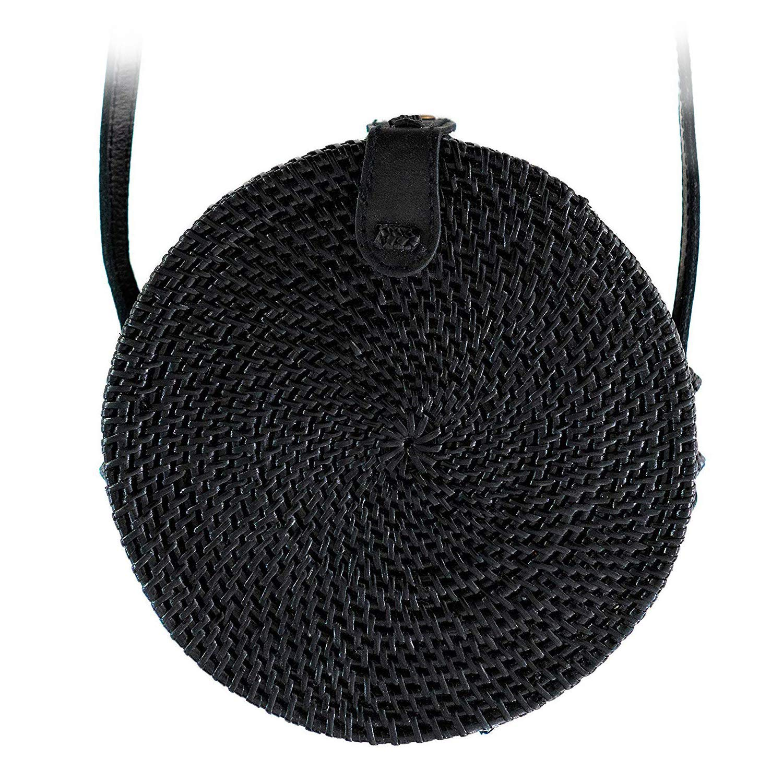 "Farbe: ""Canggu"" schwarze Bali Tasche aus Ata-Gras"