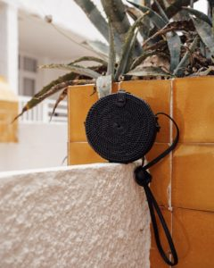 "Produktabbildung: ""Canggu"" black bali bag made of ata-grass"