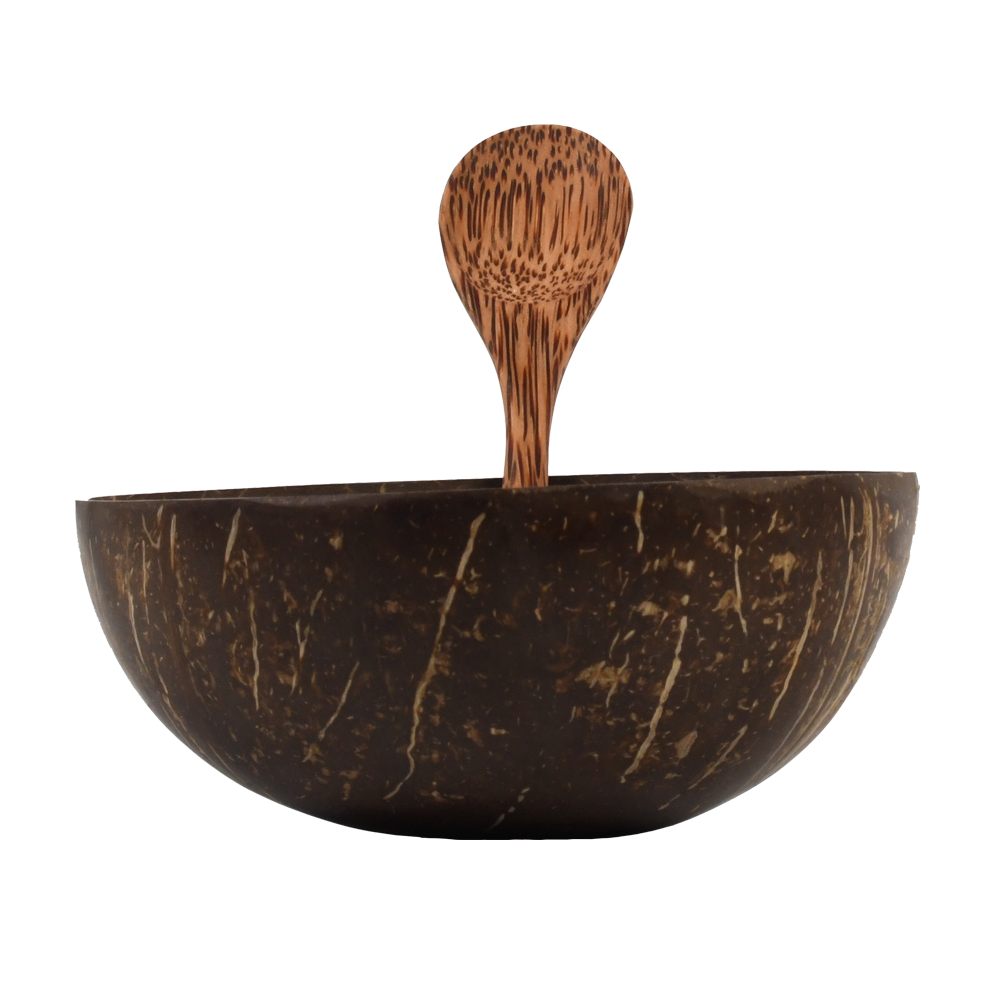 "Ausführung: ""Ben Tre"" coconut bowl and hand carved spoon"