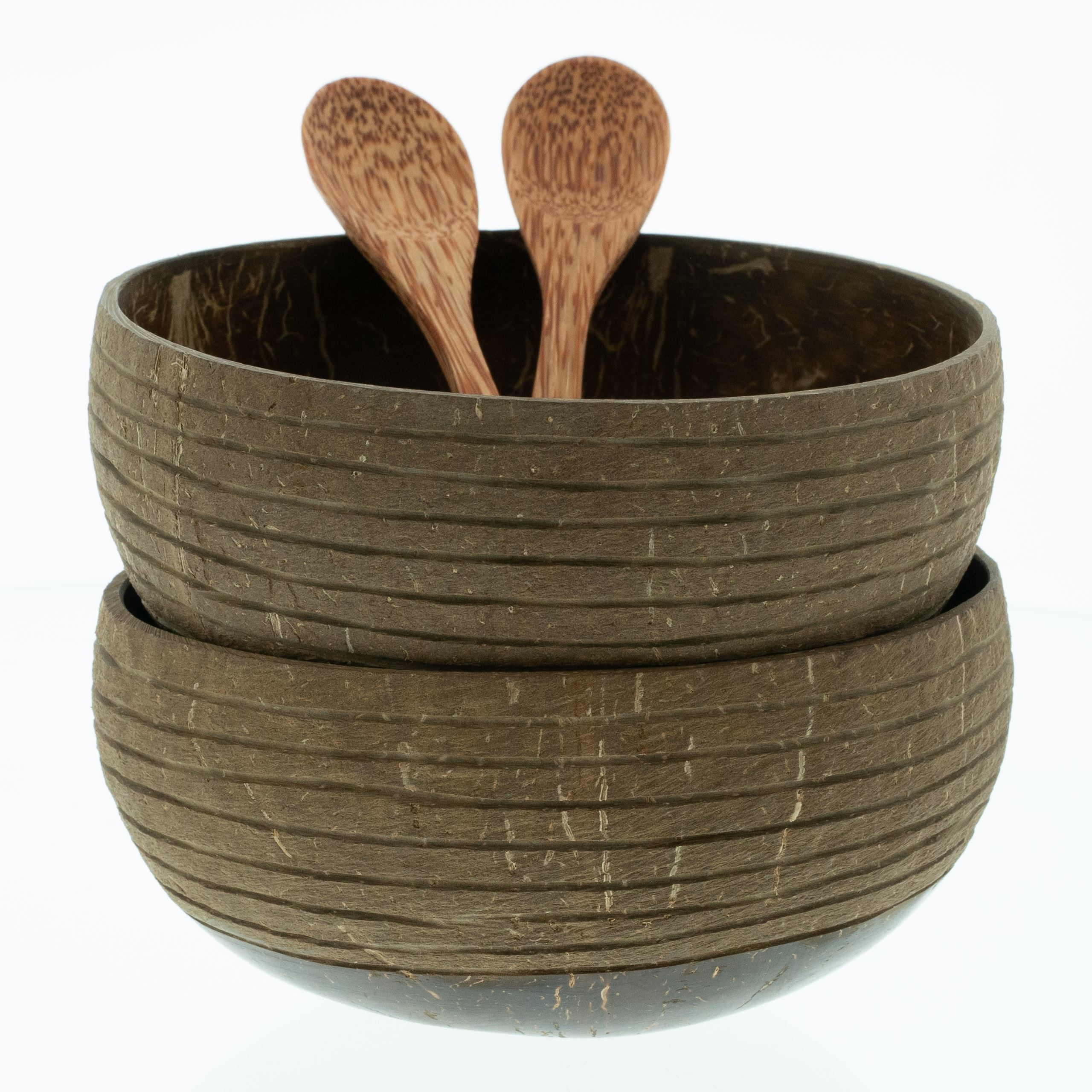 "Ausführung: Set of 2 ""Hoi An"" ribbed Coconut Bowls with handcarved spoon"