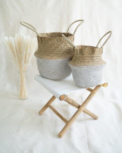 """Produktabbildung: """"Munduk"""" Seegraskorb Natur/Weiß"""